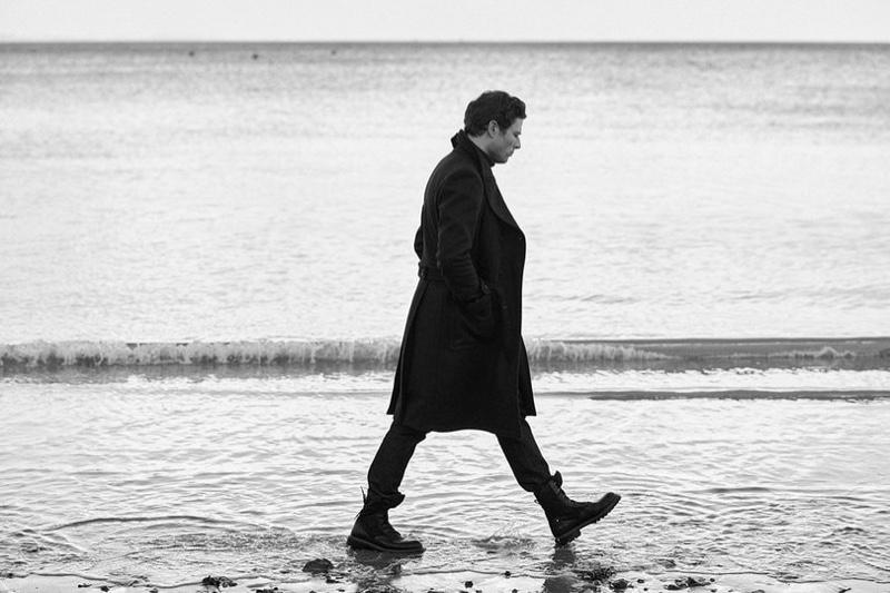 Pictured alongside Dorset's Jurassic Coast, James Norton stars in Belstaff's fall-winter 2020 campaign.