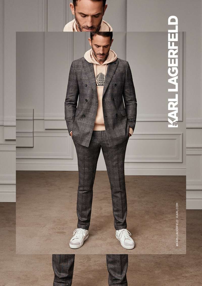 Front and center, Sébastien Jondeau appears in Karl Lagerfeld's fall-winter 2020 men's campaign.