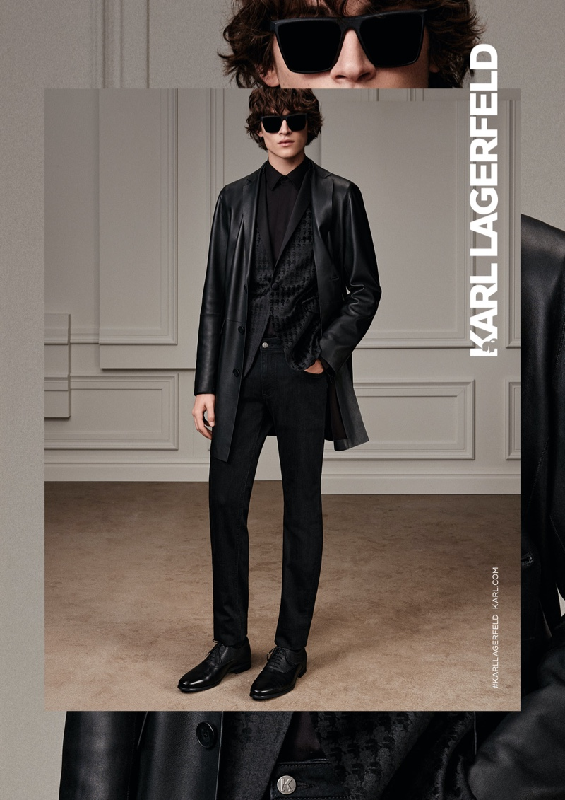 Donning all black, Liam Kelly fronts Karl Lagerfeld's fall-winter 2020 men's campaign.