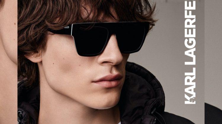 Model Liam Kelly fronts Karl Lagerfeld's fall-winter 2020 eyewear campaign.