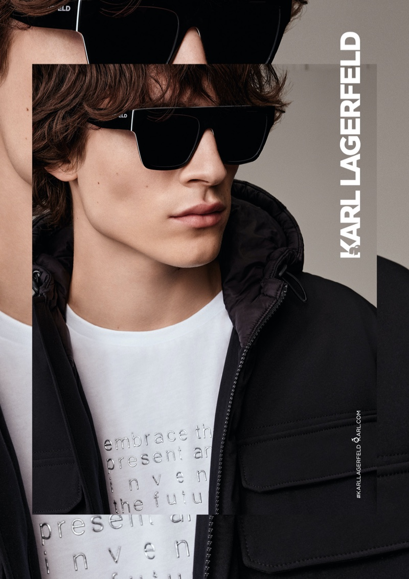 Model Liam Kelly fronts Karl Lagerfeld's fall-winter 2020 eyewear campaign.