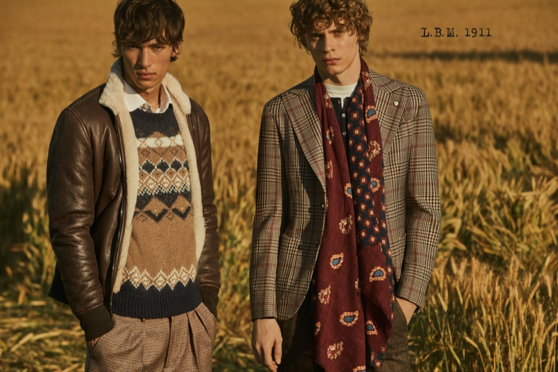 Models Eliot Moles le Bailly and Giulio Donvito sport smart looks from L.B.M. 1911's fall-winter 2020 collection.