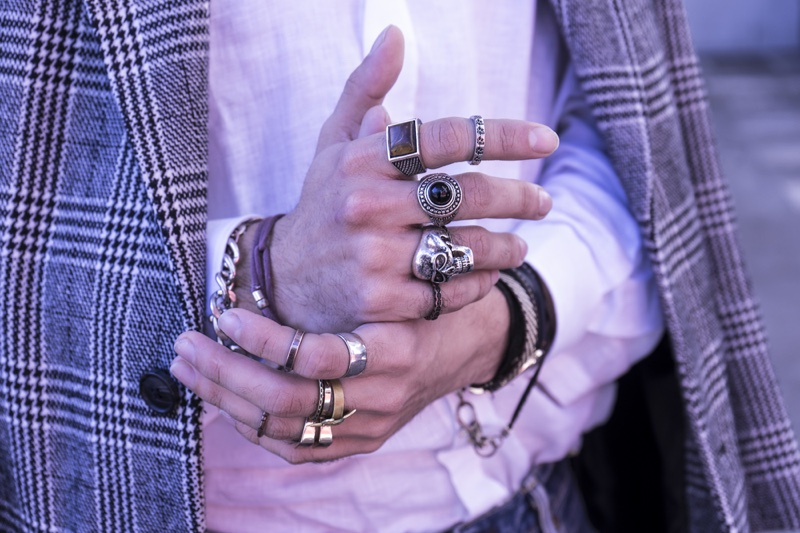 Male Wearing Rings Jewelry Closeup