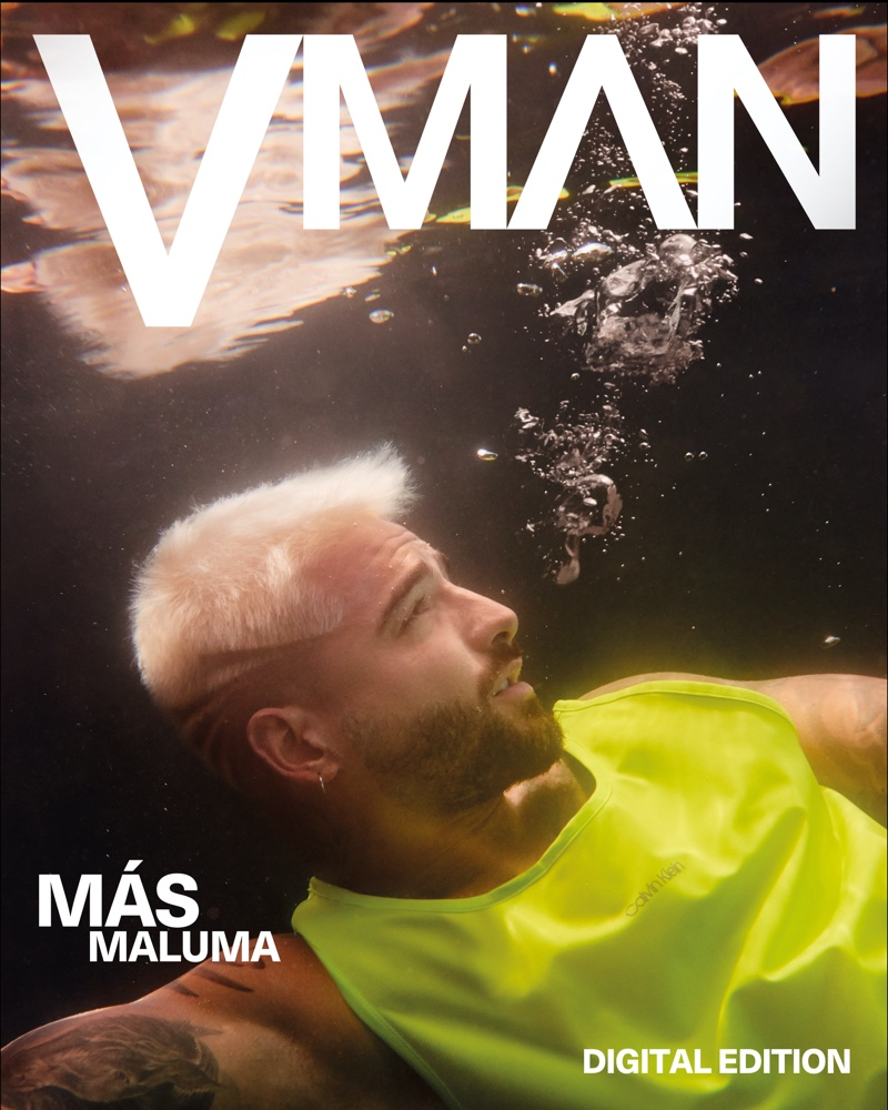 Singer Maluma connects with VMAN magazine for its most recent digital cover story. Appearing in an underwater photo, Maluma wears Calvin Klein.