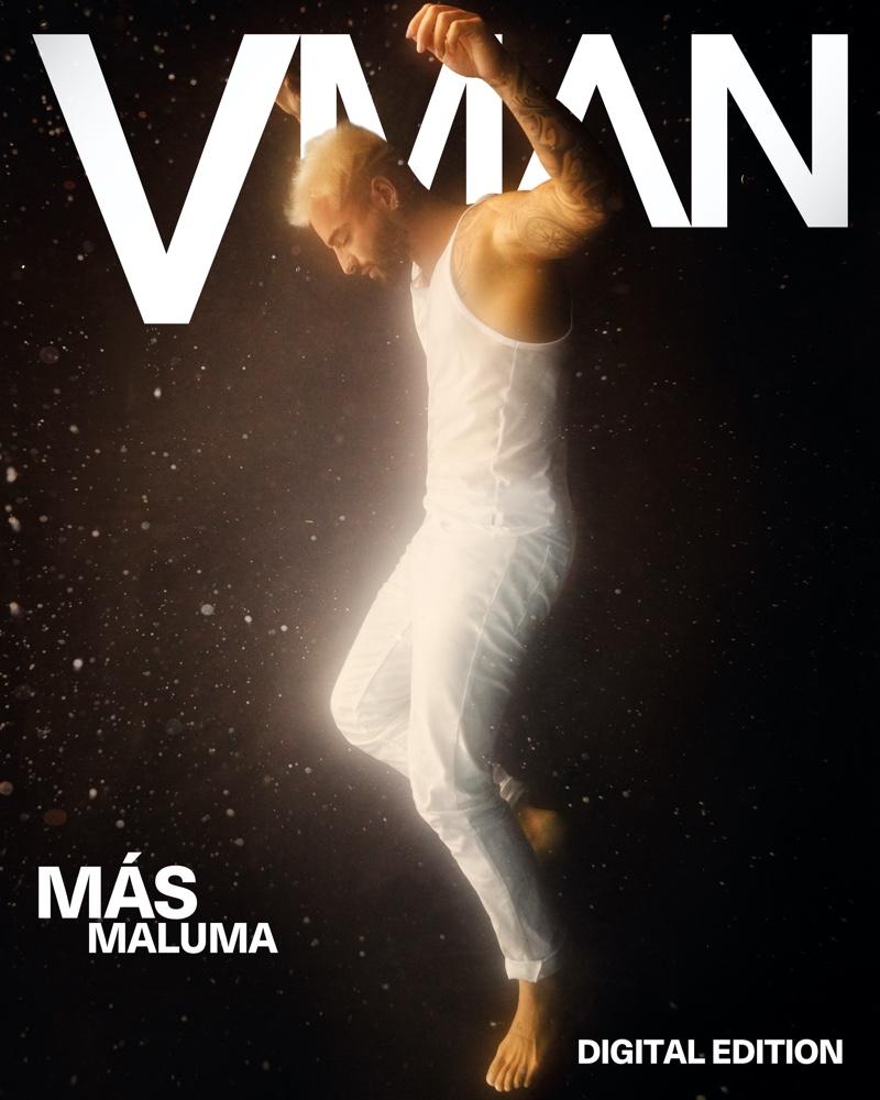 Sporting an all-white look from Calvin Klein, Maluma covers VMAN magazine.