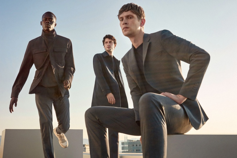 Models Alpha Dia, Matthew Bell, and Mathias Lauridsen dons tailored menswear from Mango's Improved collection.