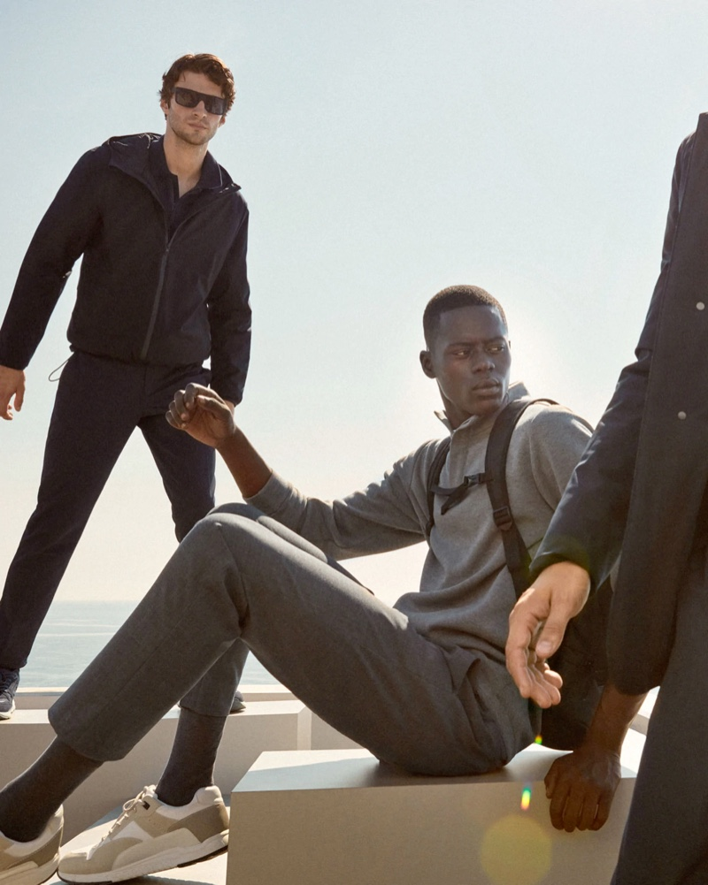 Matthew Bell and Alpha Dia go sporty in casual menswear from Mango's Improved collection.