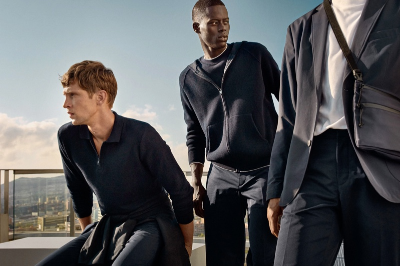 Top models Mathias Lauridsen and Alpha Dia sport monochromatic looks from Mango's Improved collection.