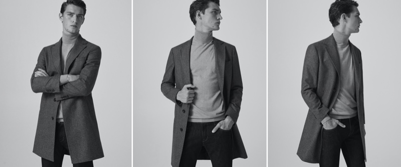 Reuniting with Massimo Dutti for fall, Otto Lotz wears a 100% wool houndstooth coat with a cotton silk cashmere turtleneck sweater and slim-fit stone wash jeans.