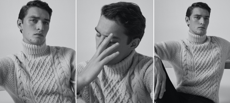 Hitting the studio, Otto Lotz models a cable-knit turtleneck sweater from Massimo Dutti.