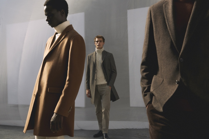 Models Malick Bodian and Parker van Noord showcase looks from Massimo Dutti's fall-winter 2020 Limited Edition men's collection.