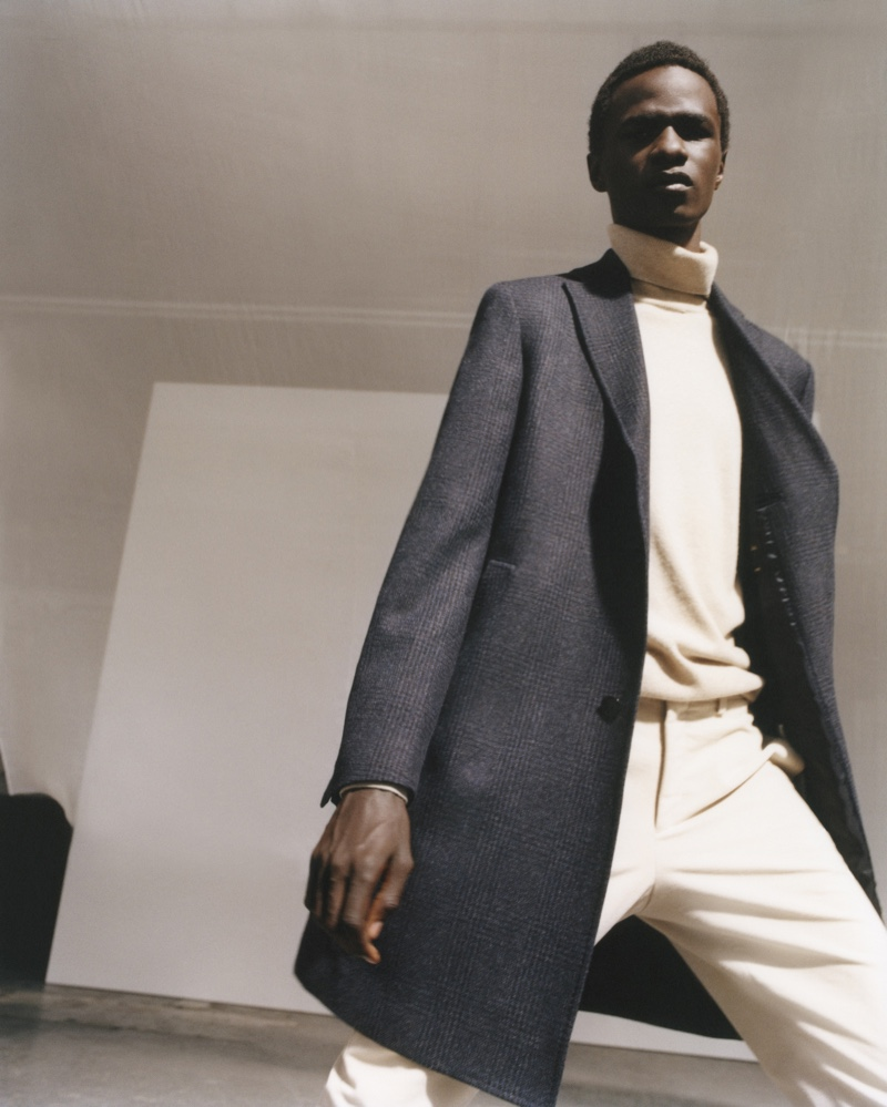 Showcasing monochromatic style for the season, Malick Bodian wears a look from Massimo Dutti's fall-winter 2020 men's collection.
