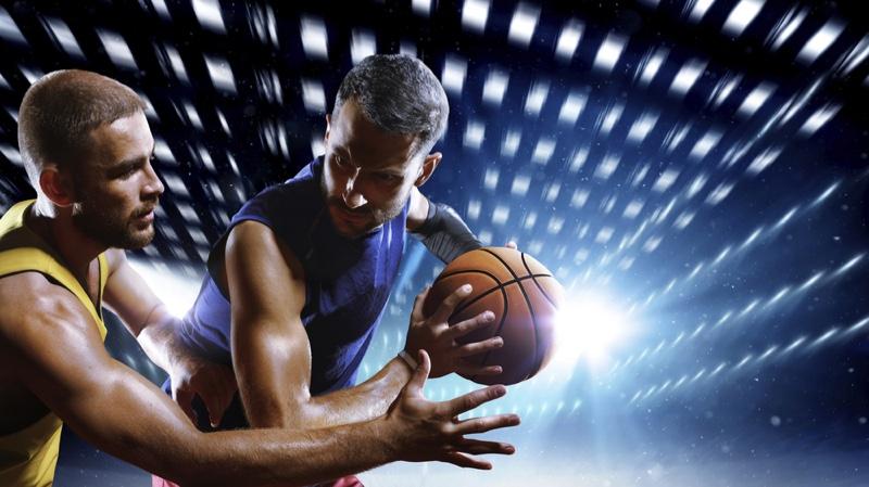 Men Playing Basketball Arms Lights