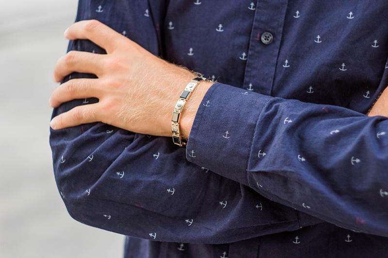 Mens Linked Bracelet Mixed Material