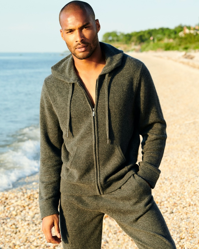 Model Jenry David dons a matching hoodie and joggers from Naked Cashmere's fall 2020 collection.