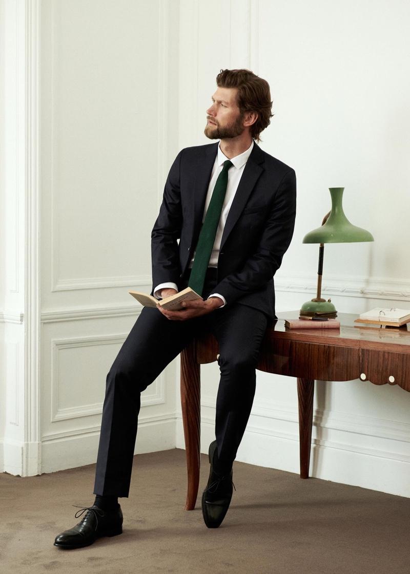 Front and center, Jan Trojan models Octobre's Elmon suit.