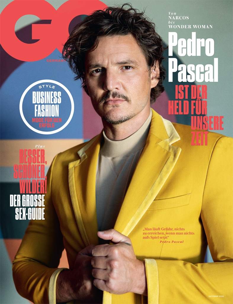Pedro Pascal covers the October 2020 issue of GQ Germany.