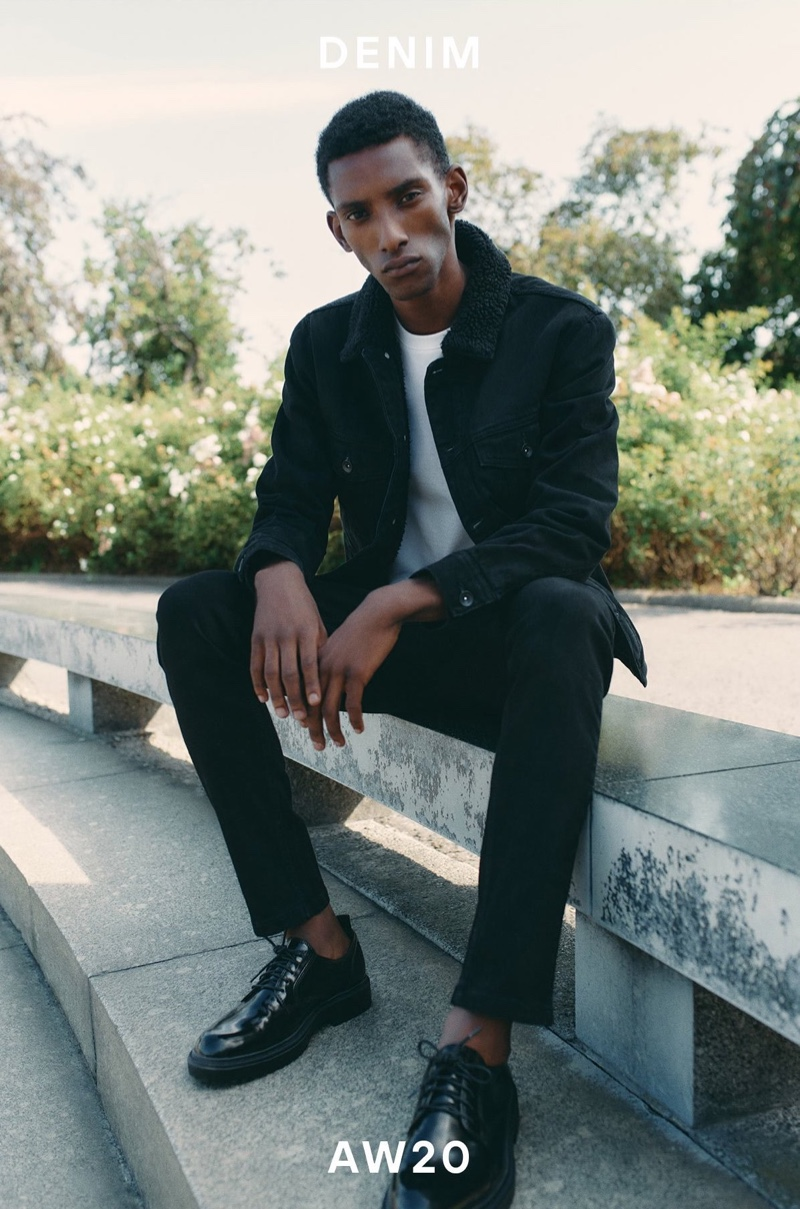 Myles Dominique sports a fall-winter 2020 denim look from Reserved.