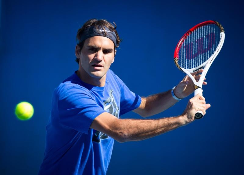 Roger Federer at 2013 Australian Open practice.