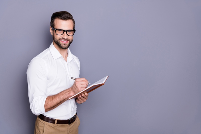 Smiling Man Writing Journal Research Glasses Smart