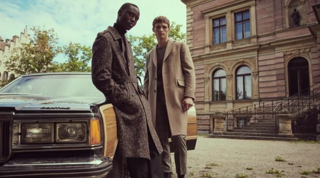 "Models Edge Lheureux and Julian Schneyder front Stylebop's ""A New Era of Style"" campaign."