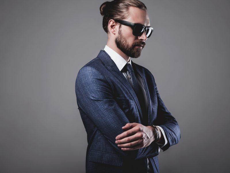 Stylish Man Long Hair Man Bun Sunglasses Suit