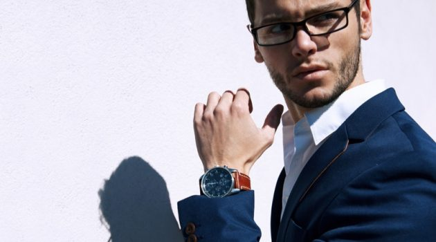Stylish Man Suit Watch Glasses