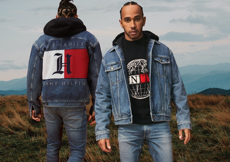 Clad in denim, Lewis Hamilton rocks essentials from his fall-winter 2020 TommyxLewis collection.