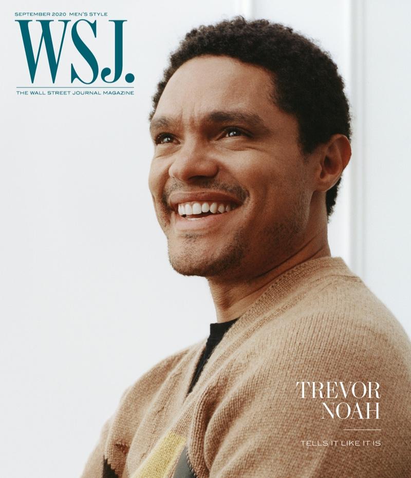 All smiles, Trevor Noah covers the September 2020 men's style issue of WSJ. Magazine.