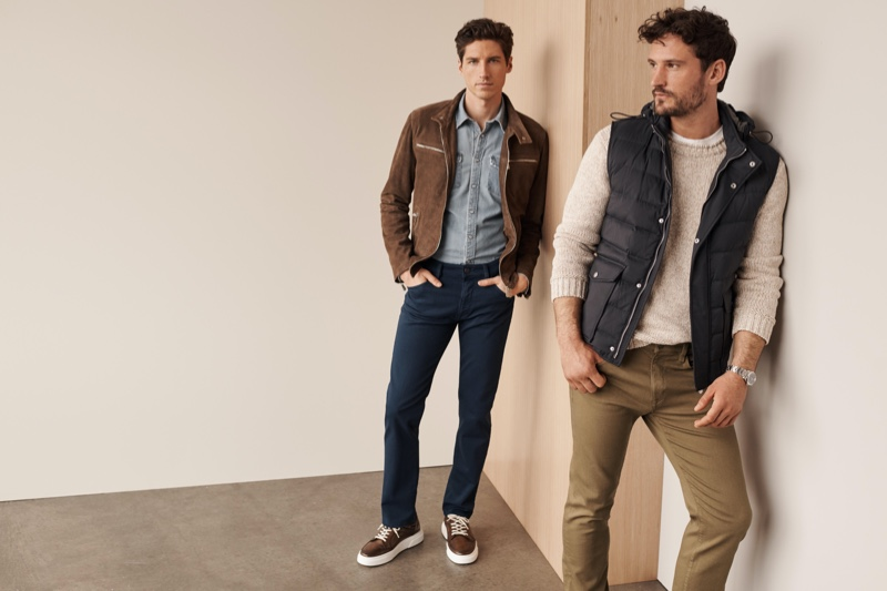 34 Heritage enlists models Ryan Kennedy and Sam Webb to showcase its Courage comfort pants from its fall-winter 2020 collection.