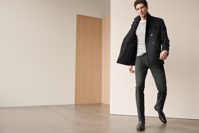Starring in 34 Heritage's fall-winter 2020 lookbook, Ryan Kennedy wears the brand's Courage urban twill pants.