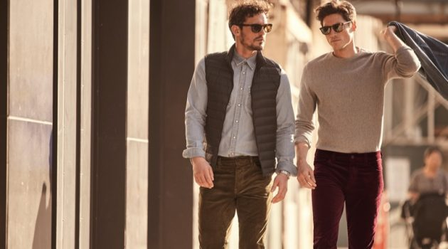 Taking a stroll, models Sam Webb and Ryan Kennedy don 34 Heritage's Charisma cord pants.