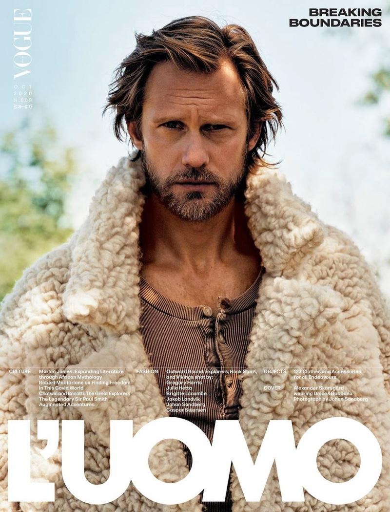 Alexander Skarsgård covers the October 2020 issue of L'Uomo Vogue.