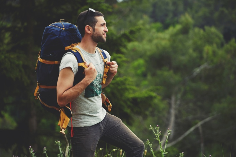 Attractive Male Hiking Bag T-Shirt Outdoors