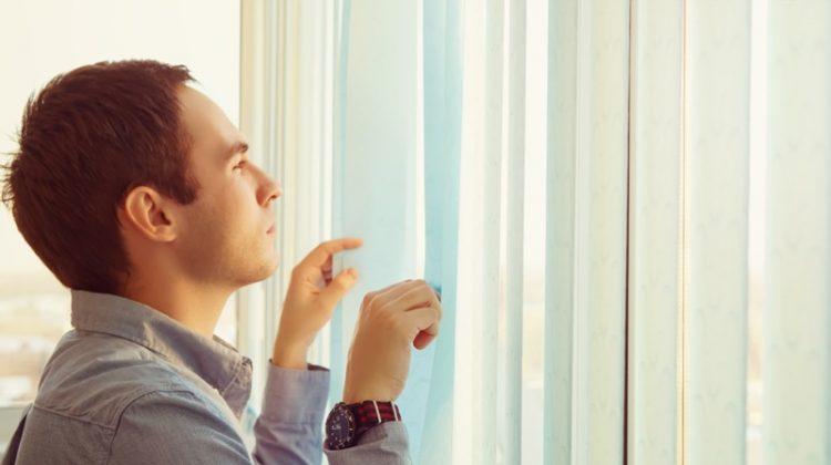 Business Man Vertical Blinds Watch Looking