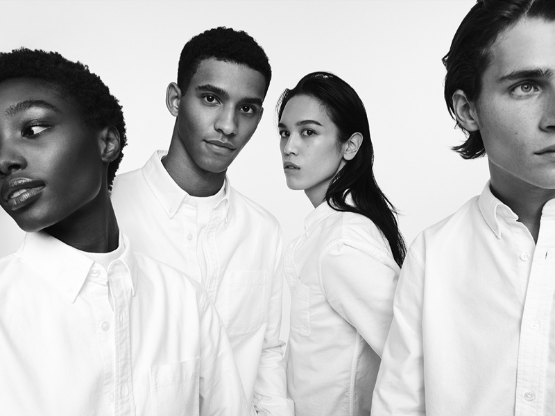 Bola Edun, Jan Carlos Diaz, Dara Allen, and Liam Kelly star in Club Monaco's fall-winter 2020 campaign.