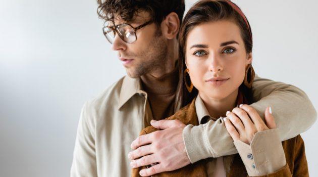 Couple Fashionable Man Embracing Woman Jackets