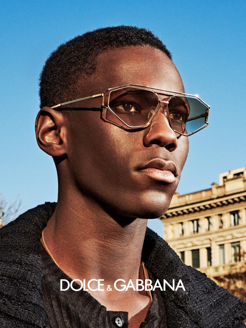 Cheikh Dia appears in Dolce & Gabbana's fall-winter 2020 eyewear campaign.