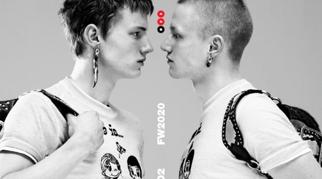 Braien Vaiksaar and Claas Nemitz star in Dsquared2's fall-winter 2020 men's campaign.