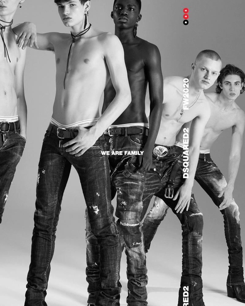 Models Braien Vaiksaar, Louis Goeckenjan, Jeremiah Berko Fourdjour, Claas Nemitz, and Joaquin Ibarra go shirtless in denim for Dsquared2's fall-winter 2020 men's campaign.
