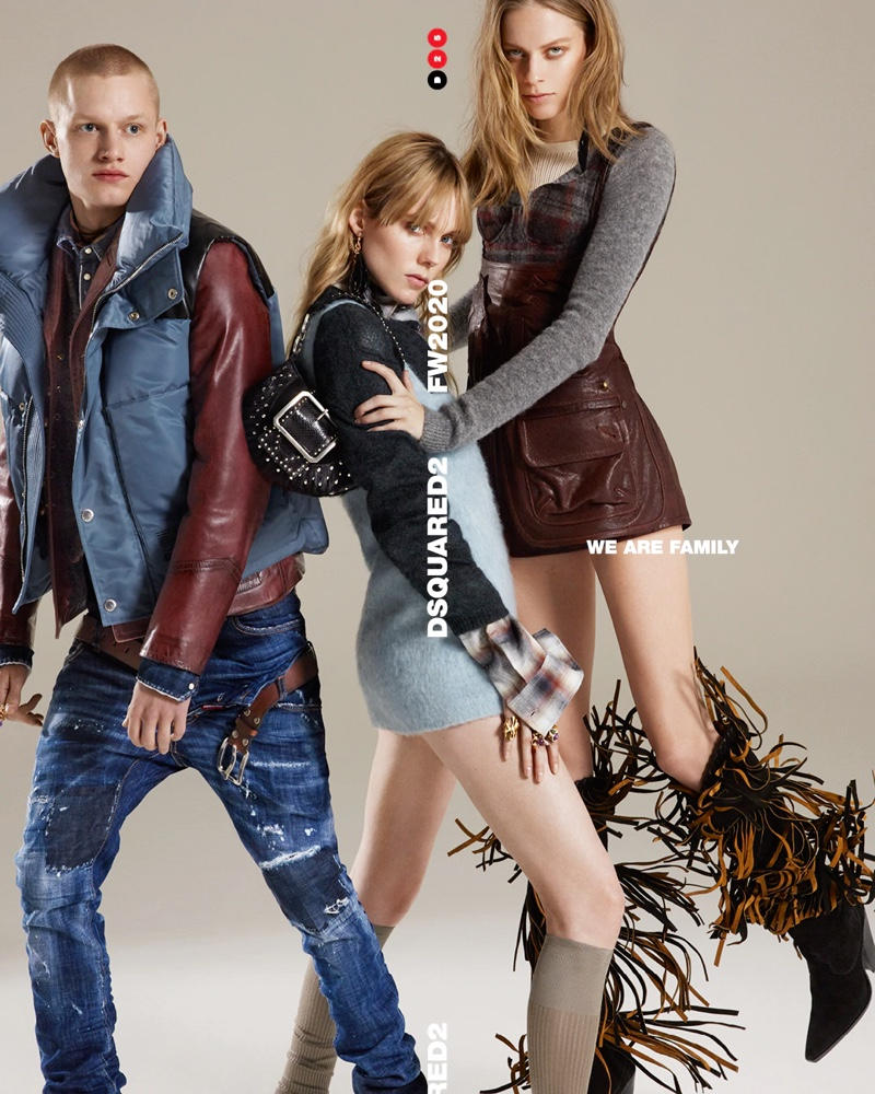 Claas Nemitz, Edie Campbell, and Lexi Boling star in Dsquared2's fall-winter 2020 campaign.