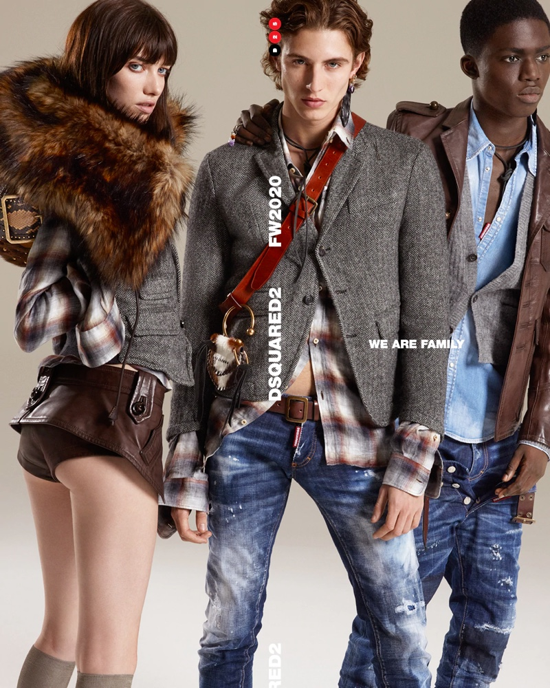 Kiki Willems, Joaquin Ibarra, and Jeremiah Berko Fourdjour come together for Dsquared2's fall-winter 2020 campaign.