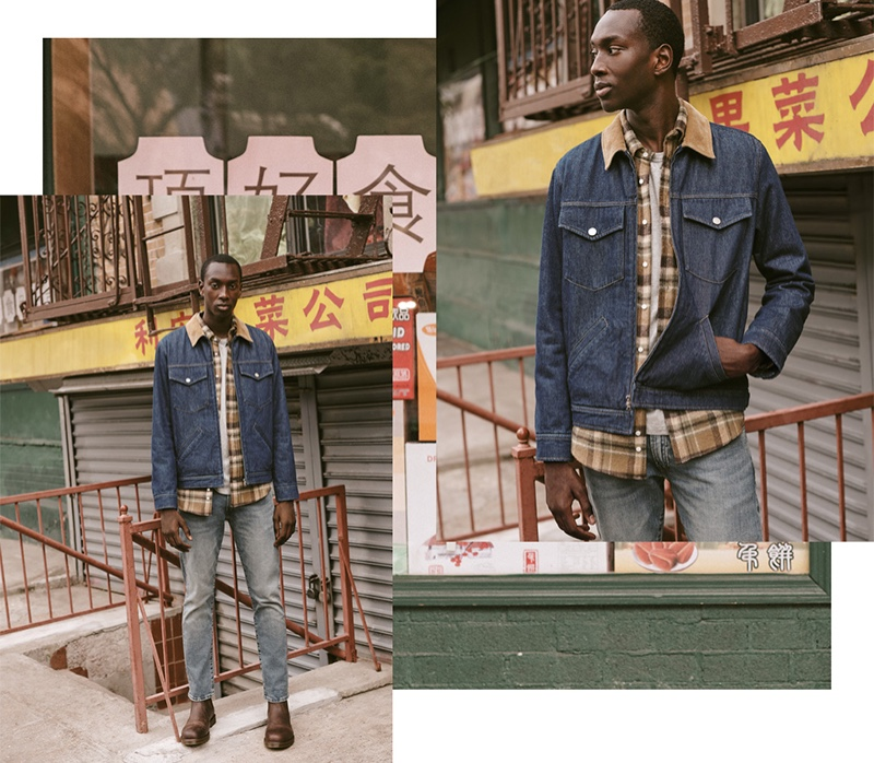 Double Denim Remixed: Macky Dabo hits the streets with East Dane for fall. He mixes denim washes in an A.P.C. Linden jacket and POLO Ralph Lauren Varick slim straight-fit jeans. Macky also sports a Gitman Vintage flannel shirt and Dr. Martens 2976 Chelsea boots.