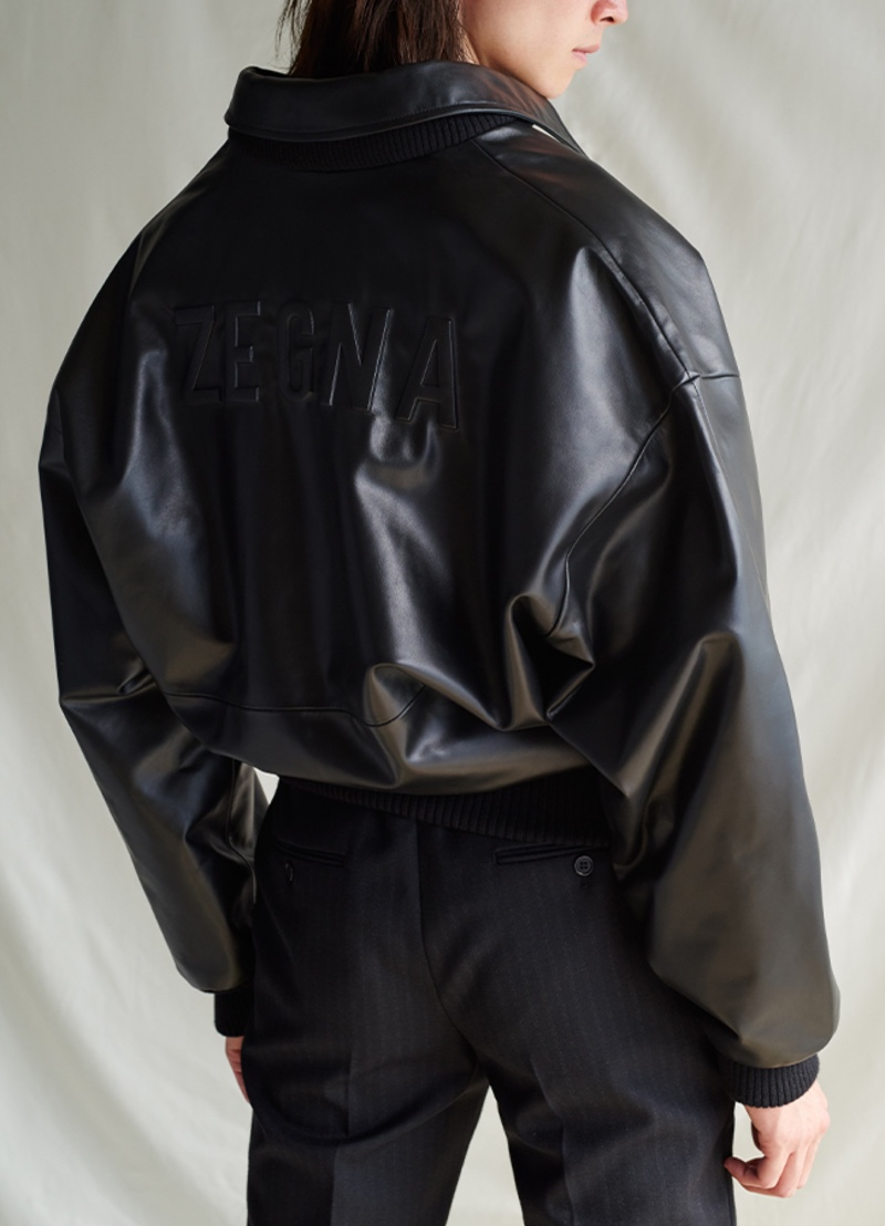 Mr Porter spotlights a logo-embossed leather bomber jacket from the Fear of God for Ermenegildo Zegna collection.