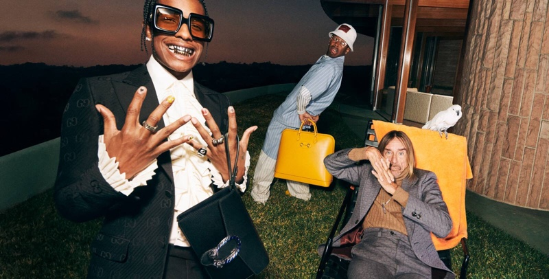 All smiles, A$AP Rocky, Tyler, The Creator, and Iggy Pop front Gucci's fall-winter 2020 Tailoring campaign.