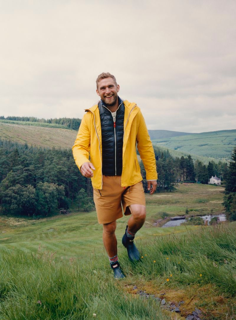 British model Will Chalker appears in Hunter Boots' fall-winter 2020 campaign.