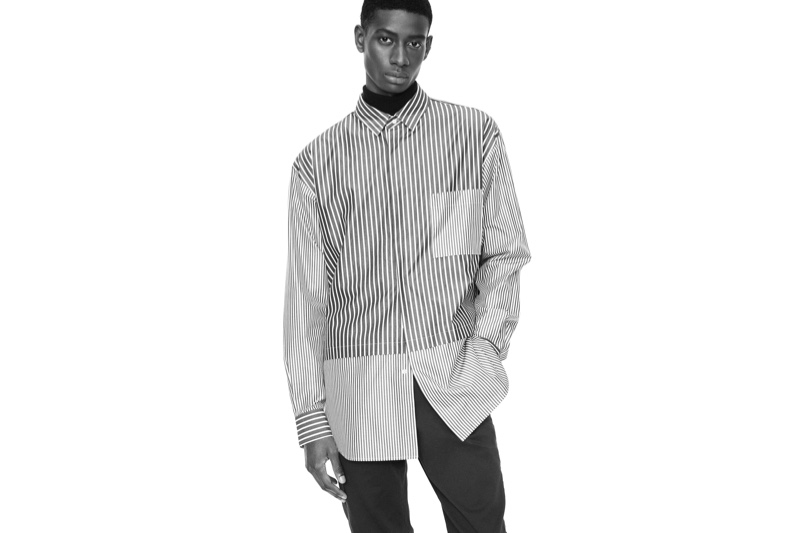 Louis Dicko sports a mixed stripe shirt for the UNIQLO +J fall-winter 2020 campaign.