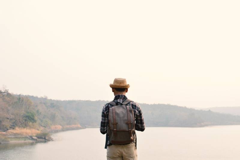 Man Traveling Backpack Outdoors