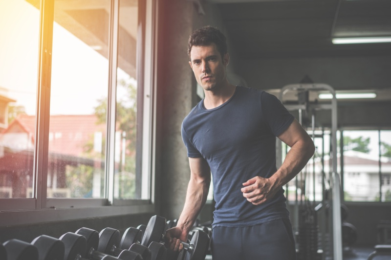 Man Working Out Gym Weights