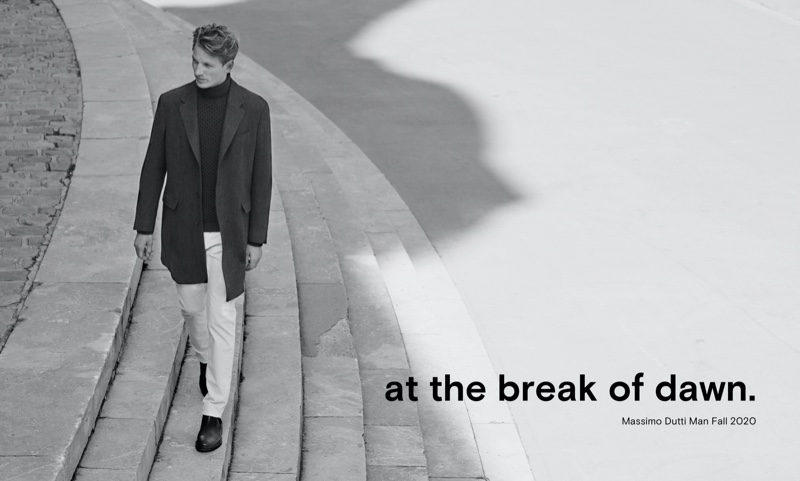 French model Hugo Sauzay is once again in the spotlight for Massimo Dutti.